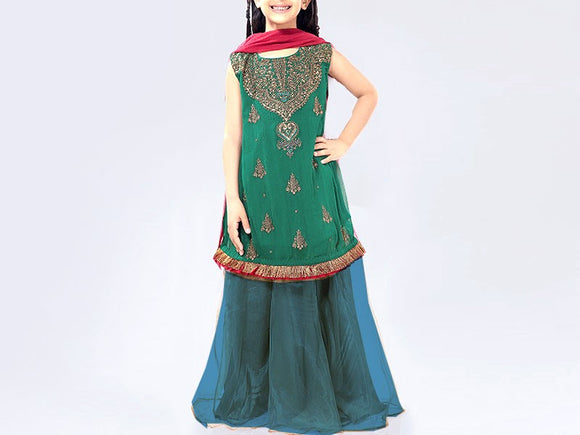 Maria B Replica Kids 2-Pcs Embroidered Lawn Dress (DZ12991)