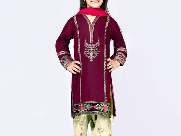 Kids 2-Pcs Embroidered Lawn Dress (DZ12992)