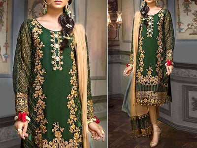 Handwork Embroidered Chiffon Dress (DZ13017)