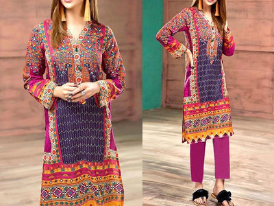 Multicolor Embroidered Lawn Dress (DZ13071)