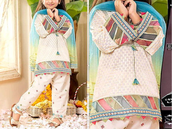 Maria B Replica Kids 2-Pcs Embroidered Lawn Dress (DZ13096)