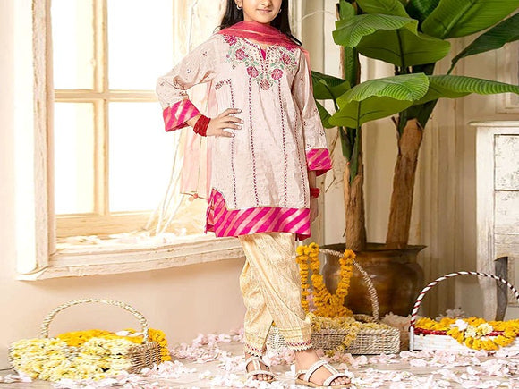 Maria B Replica Kids 2-Pcs Embroidered Lawn Dress (DZ13098)