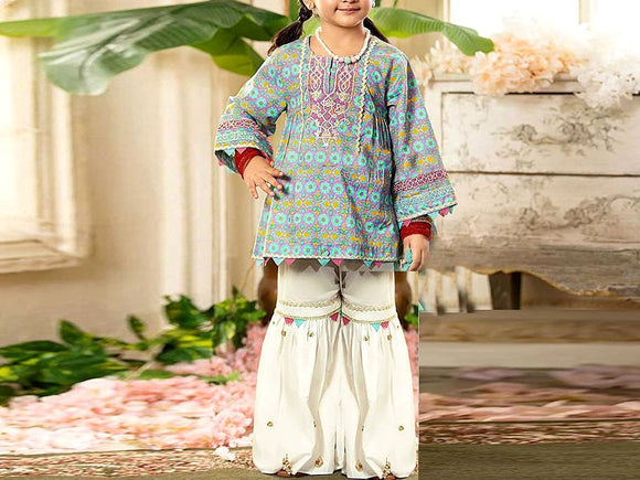 Maria B Replica Kids 2-Pcs Embroidered Lawn Dress (DZ13099)