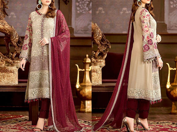 Embroidered Chiffon Wedding Dress (DZ13144)