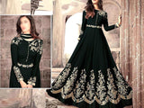Indian Embroidered Black Chiffon Maxi Dress (DZ13145)