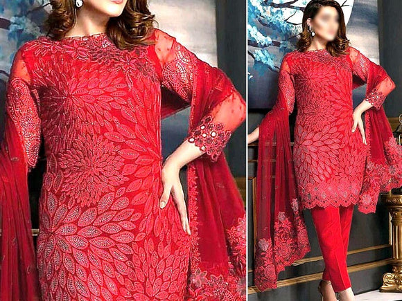 Embroidered Red Chiffon Wedding Dress (DZ13148)
