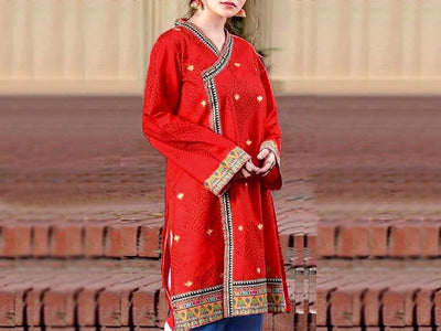 2-Pcs Embroidered Linen Dress (DZ13196)
