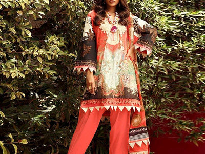 Sana Safinaz Replica Embroidered Linen Dress (DZ13199)