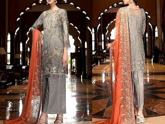Heavy Embroidered Chiffon Dress (DZ13250)