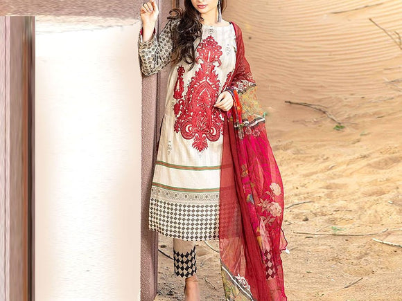 Embroidered Linen Dress (DZ13329)