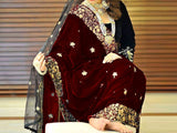 Embroidered Maroon Bridal Velvet Shawl (DZ13354)