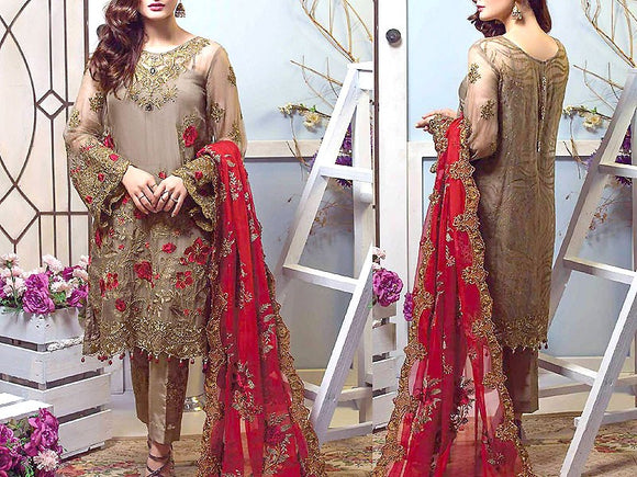Handwork Embroidered Chiffon Dress (DZ13356)