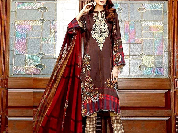 Charizma Replica Embroidered Linen Dress (DZ13377)