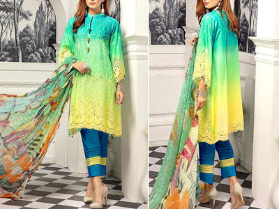 Charizma Replica Schiffli Embroidered Linen Dress (DZ13399)