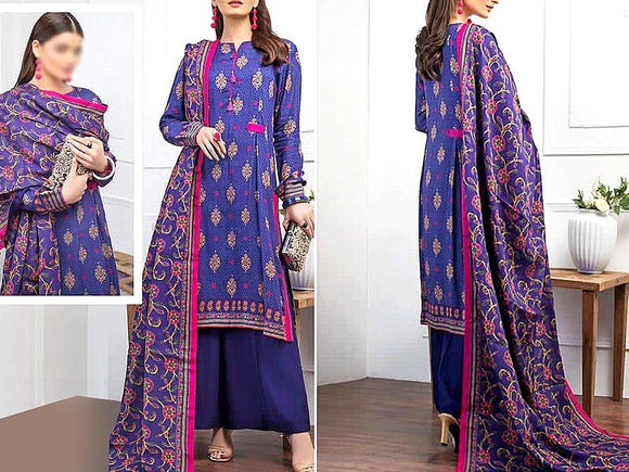 Printed Khaddar Dress (DZ13425)