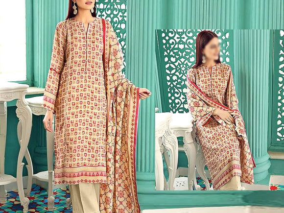 Printed Khaddar Dress (DZ13430)