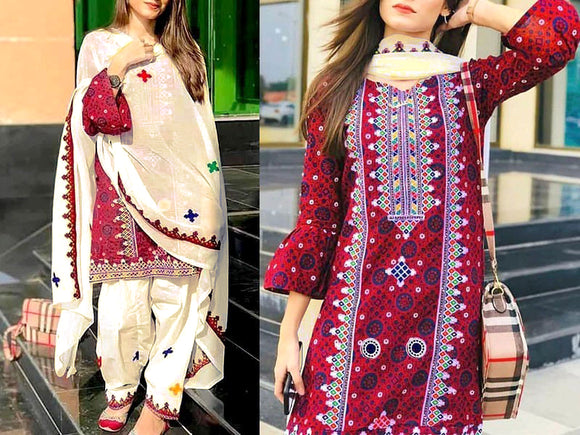 Embroidered Khaddar Dress (DZ13436)