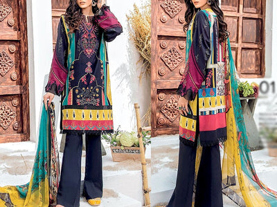 Embroidered Dhanak Dress (DZ13450)