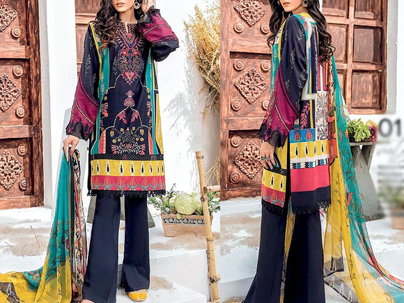 Iznik Replica Embroidered Dhanak Dress (DZ13450)