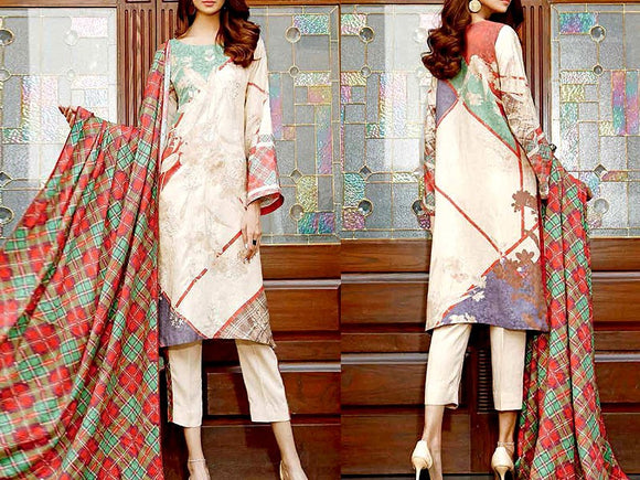 Embroidered Dhanak Dress (DZ13458)