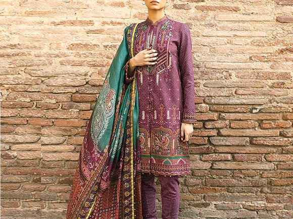 Zara Shahjahan Replica Embroidered Dhanak Dress (DZ13467)