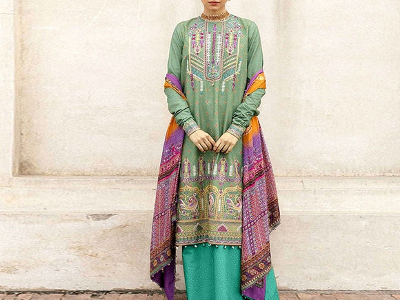 Zara Shahjahan Replica Embroidered Dhanak Dress (DZ13468)
