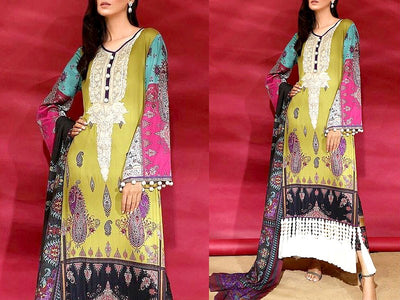 Sana Safinaz Replica Embroidered Khaddar Dress (DZ13474)