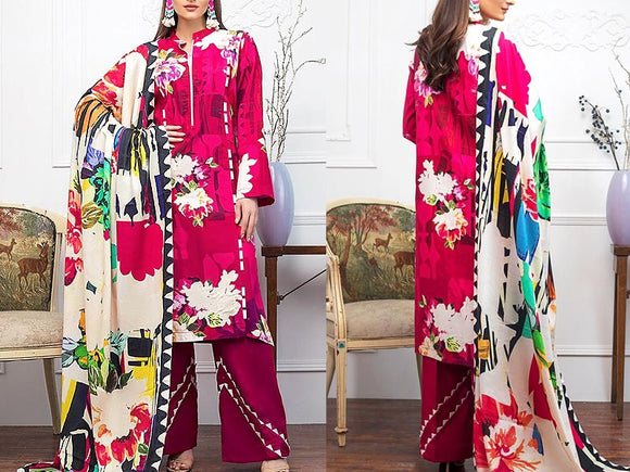 Printed Khaddar Dress (DZ13483)
