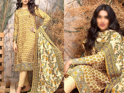 Printed Khaddar Dress (DZ13484)