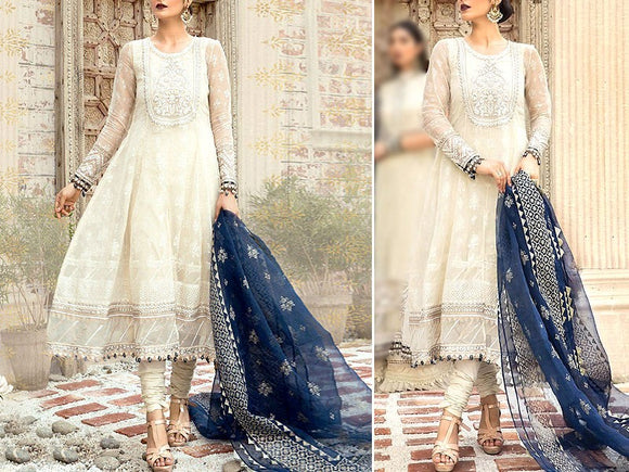 Maria B Replica Embroidered Chiffon Wedding Dress (DZ13519)