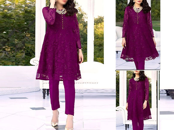 Embroidered Purple Net Kurti (DZ13520)