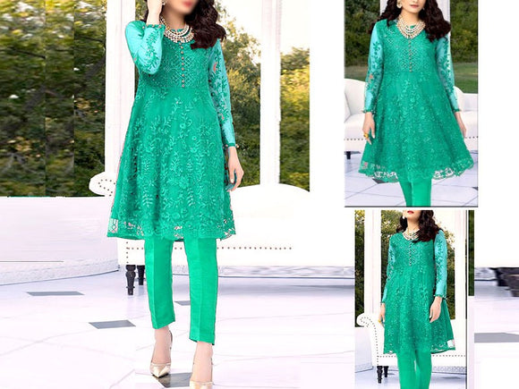 Embroidered Sea Green Net Kurti (DZ13521)