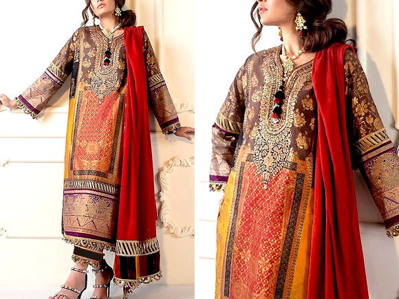 Sana Safinaz Replica Sequins Embroidered Linen Dress (DZ13526)
