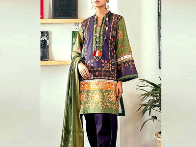 Ethnic Replica Embroidered Linen Dress (DZ13528)