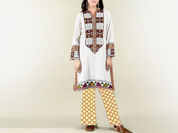 Embroidered Linen Dress (DZ13530)