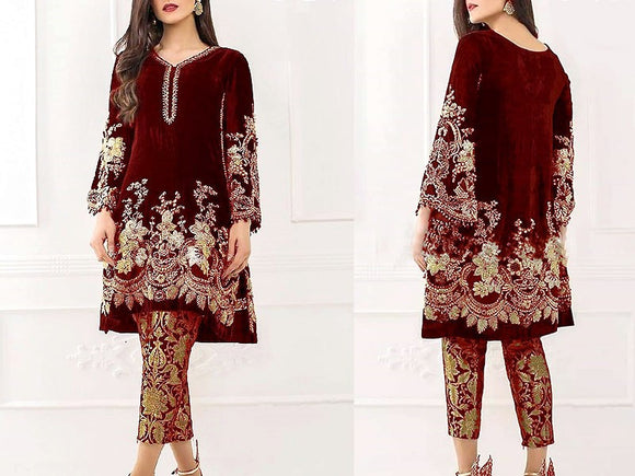 Embroidered Maroon Velvet Dress (DZ13534)
