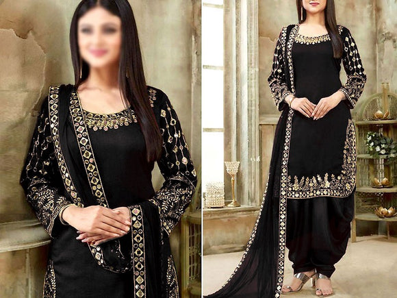 Indian Mirror Work Embroidered Chiffon Dress (DZ13562)