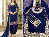 Indian Mirror Work Embroidered Chiffon Dress (DZ13563)
