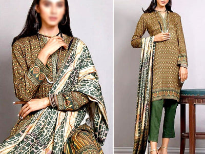 Printed Khaddar Dress (DZ13566)