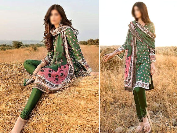 Printed Khaddar Dress (DZ13574)