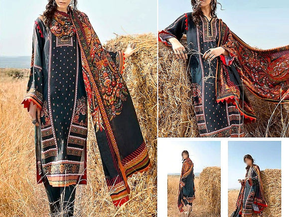 Printed Khaddar Dress (DZ13576)
