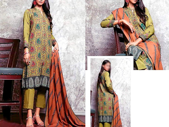 Printed Khaddar Dress (DZ13577)