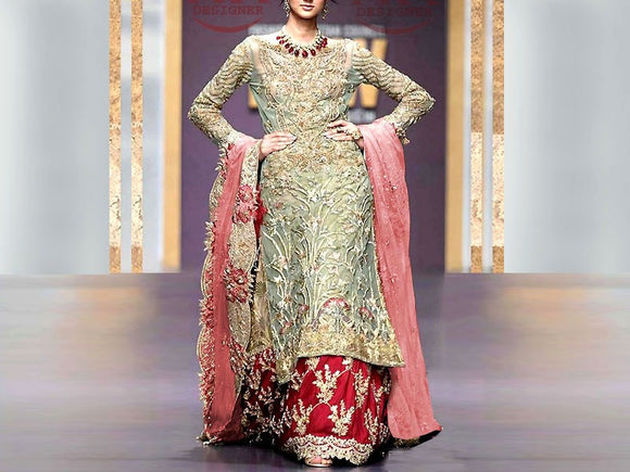 Handwork Embroidered Net Bridal Dress (DZ13585)