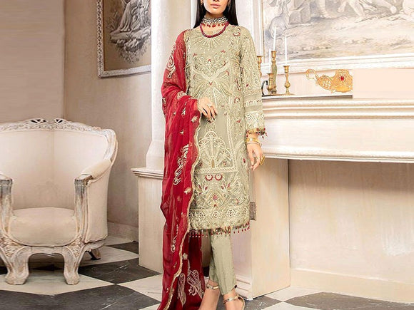 Embroidered Chiffon Dress (DZ13590)