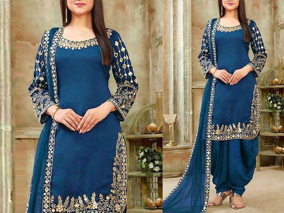 Indian Mirror Work Embroidered Chiffon Dress (DZ13607)