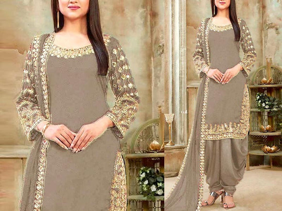 Indian Mirror Work Embroidered Chiffon Dress (DZ13608)