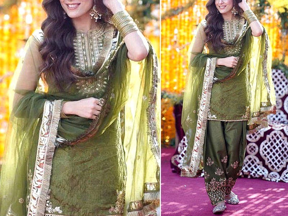 Maya Ali Mirror Work Embroidered Organza Dress (DZ13610)