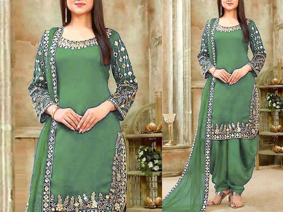 Indian Mirror Work Embroidered Chiffon Dress (DZ13611)