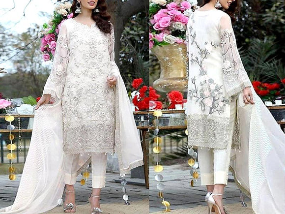 Embroidered White Chiffon Wedding Dress (DZ13617)