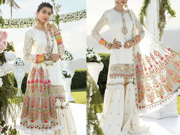 Maria B Replica Embroidered White Chiffon Party Dress (DZ13619)